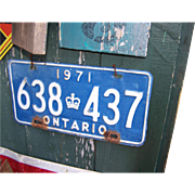 Rusty Old Tin Metalware ONTARIO 1971 638 437 Licence Plate GR8 for Display