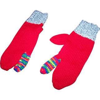 Lovely Vintage Colorful Hand Knit Hunting Trigger  / Driving Mittens Large