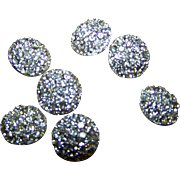 Lot of 8 Bright Shiney Metal Rhinestone Ladies Fashion Buttons