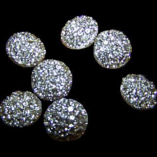 Lot of 8 Bright Shiney Metal Rhinestone Ladies Fashion Buttons
