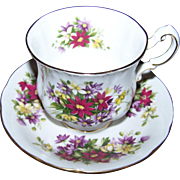 Pretty Tea Cup Saucer Set Paragon Flower Festival Mixed Floral Theme