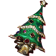 Enamel Rhinestone Christmas Tree Brooch by Kenneth Jay Lane for The Franklin Mint