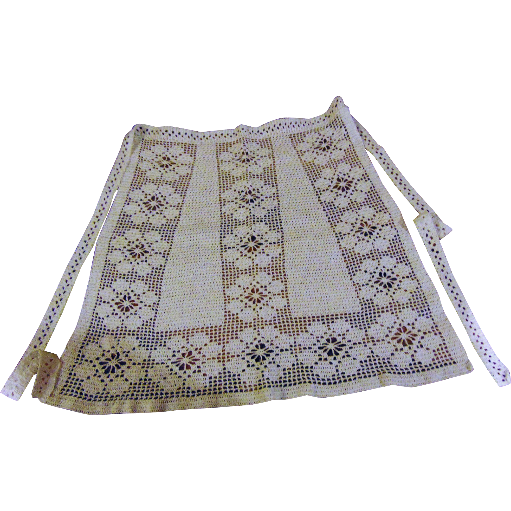 Sweet Vintage Hand Crochet Ladies Decorative Apron Floral Theme