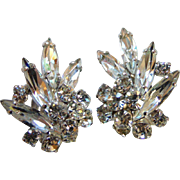 Pat #156452 Rhodium Plate Crystal Rhinestone Clip Style Earrings
