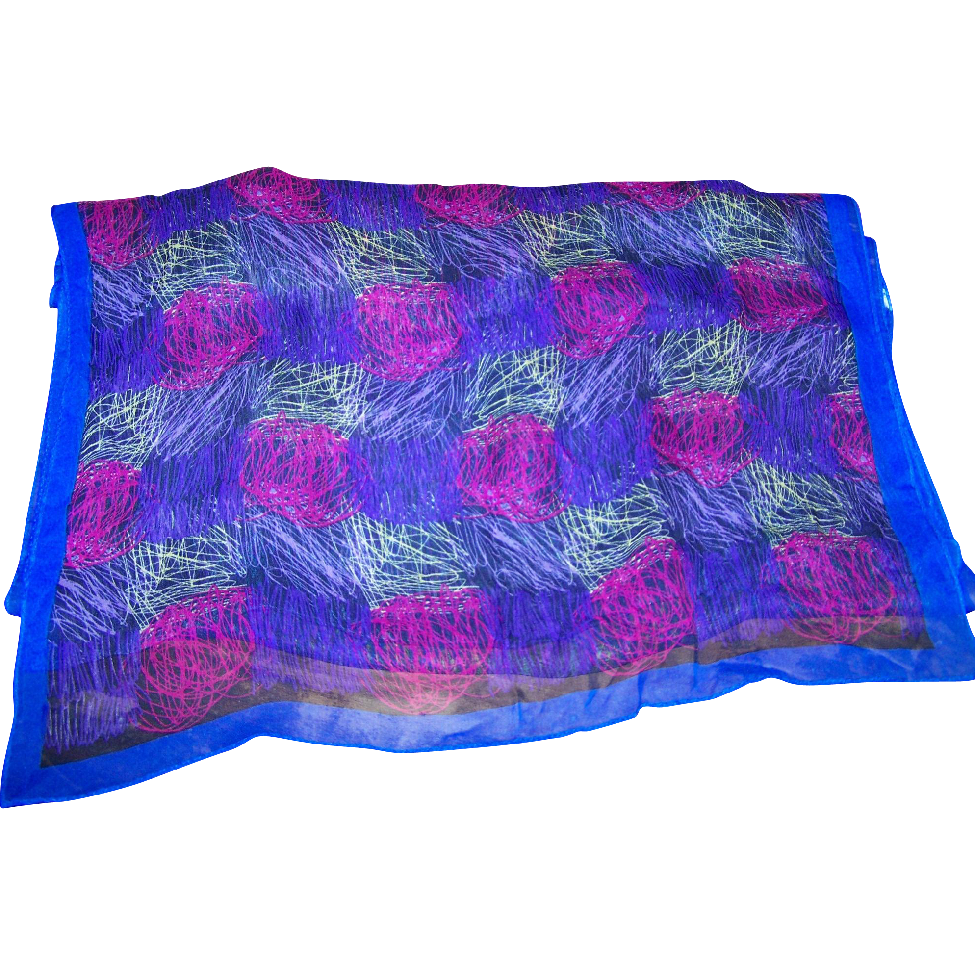 Lovely Long Rectangular  Abstract Art Print Silk Ladies Fashion Scarf