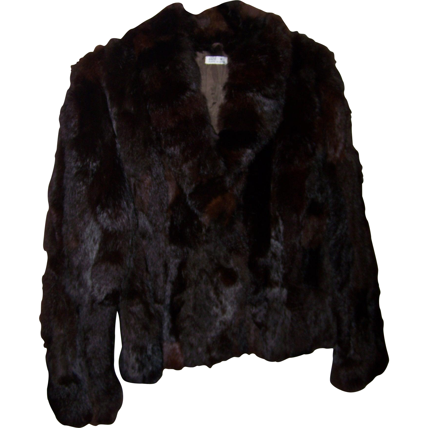 Stylish Vintage Short Rabbit Fur Jacket Made in Korea Ladies Size M