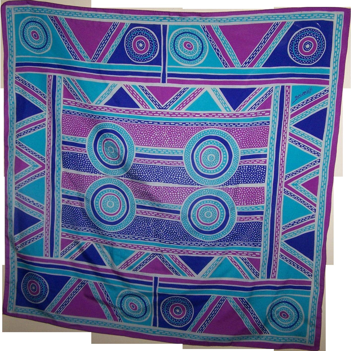 A Lovely Tribal  Geometric Style Pattern Silk Scarf Designer Signed Baldarinji