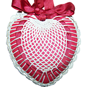 Lovely Vintage Hanging Heart with Crochet Accents Pin Cushion