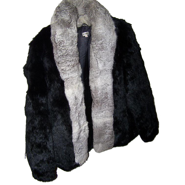 Wonderful Vintage Short Jacket Rabbit Fur Coat Made in Hong Kong Sz M