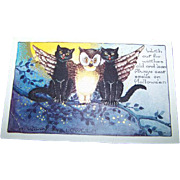 Whitney Made Vintage Collectible Paper Postcard Halloween Black Cat Owl Moon Themed