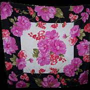 Stunning Large Designer SIgner OSCAR Silk Scarf Flower / Floral Themed