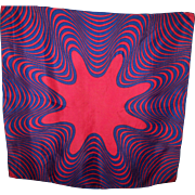 Navy Blue & Red OP ART Small Silk Scarf  Rolled Edges