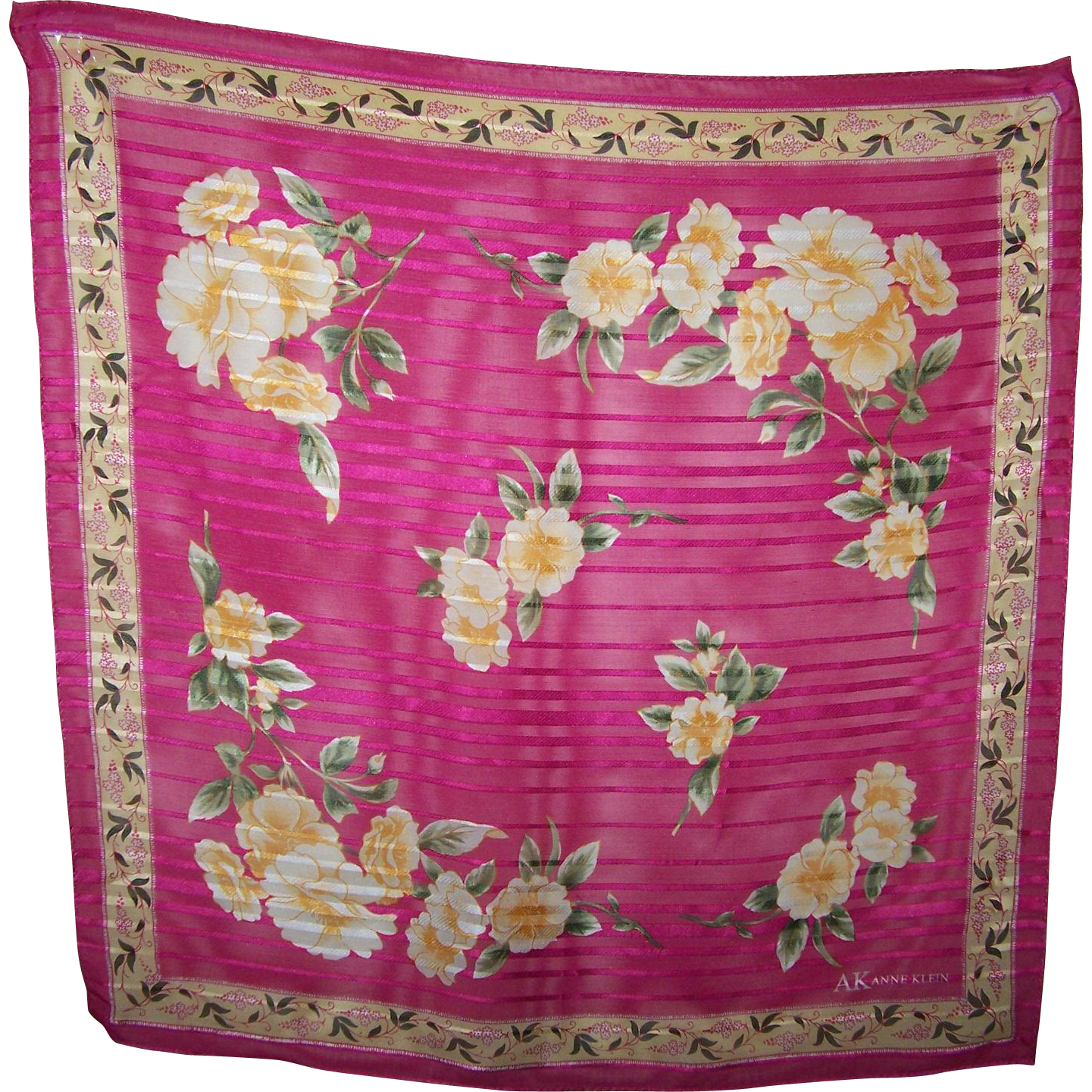 Designer Signed  AK Anne Klein Small Silk Scarf  Floral Rose Pattern / Theme