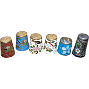 A Lot of Six ( 6 ) Gently Used Vintage Thimbles Cloisonne Enamel MOP Shell Accenting