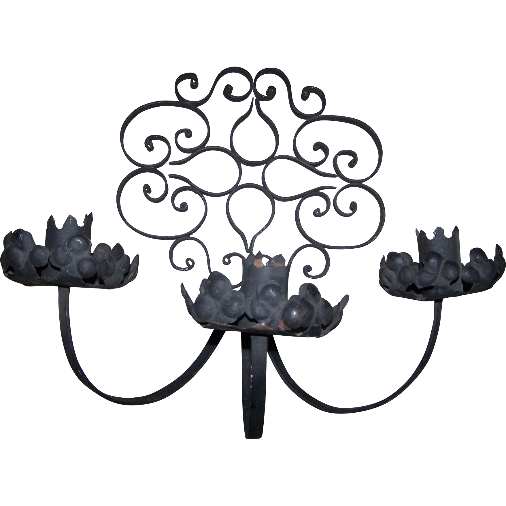 Mid-Century Black Wrought Iron Candle Holder Wall Sconce