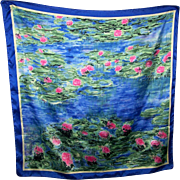 Lovely Silk Scarf Waterecolor Impressionist Style Signed Les Nympheas d'apres Claude Monet