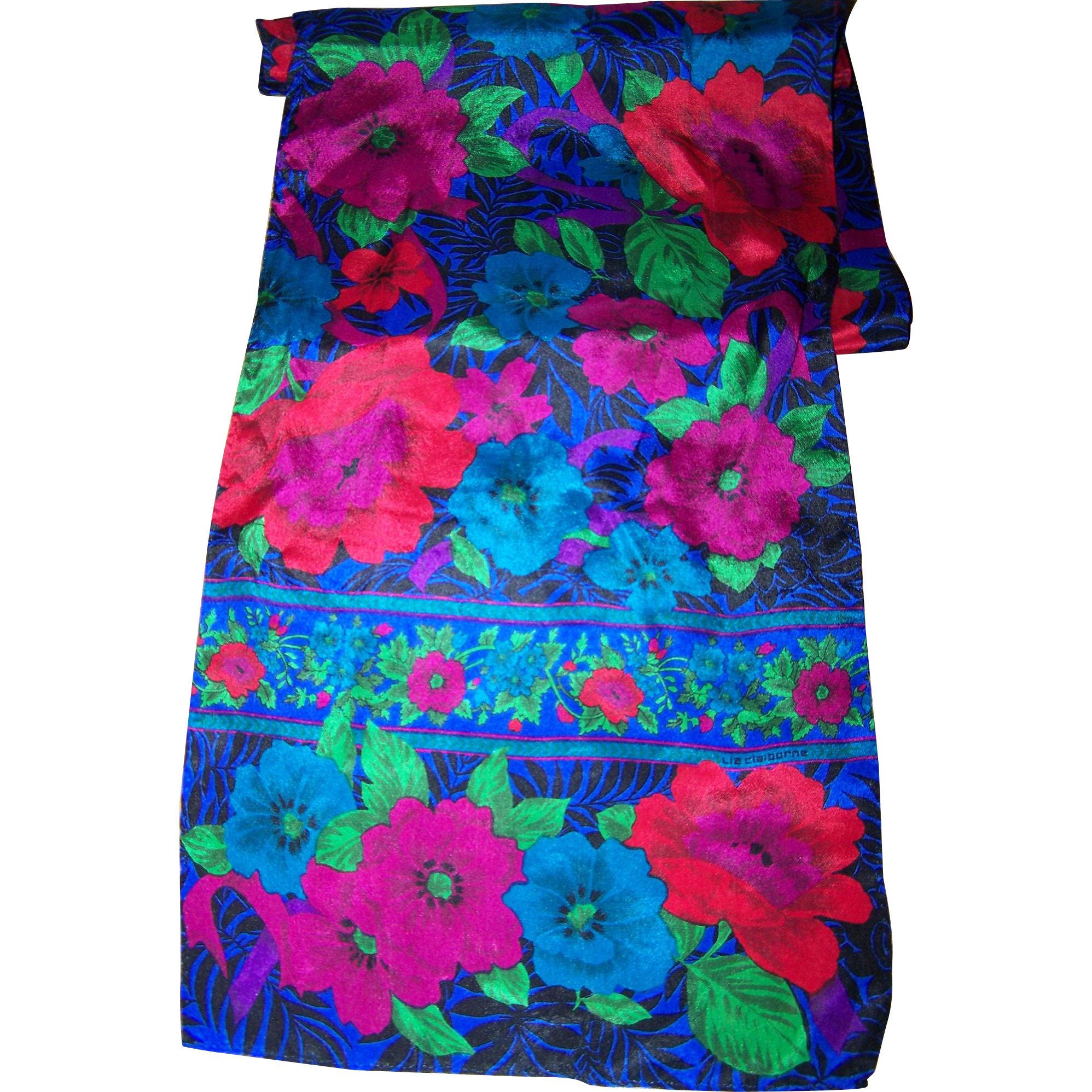 A Delicate Long Rectangular Designer Signed Liz Claiborne Exotic Tropical Flower Scarf