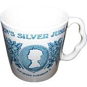 Small Vintage H.M. Queen Elizabeth II  Silver Jubilee Souvenir Mug Mason's