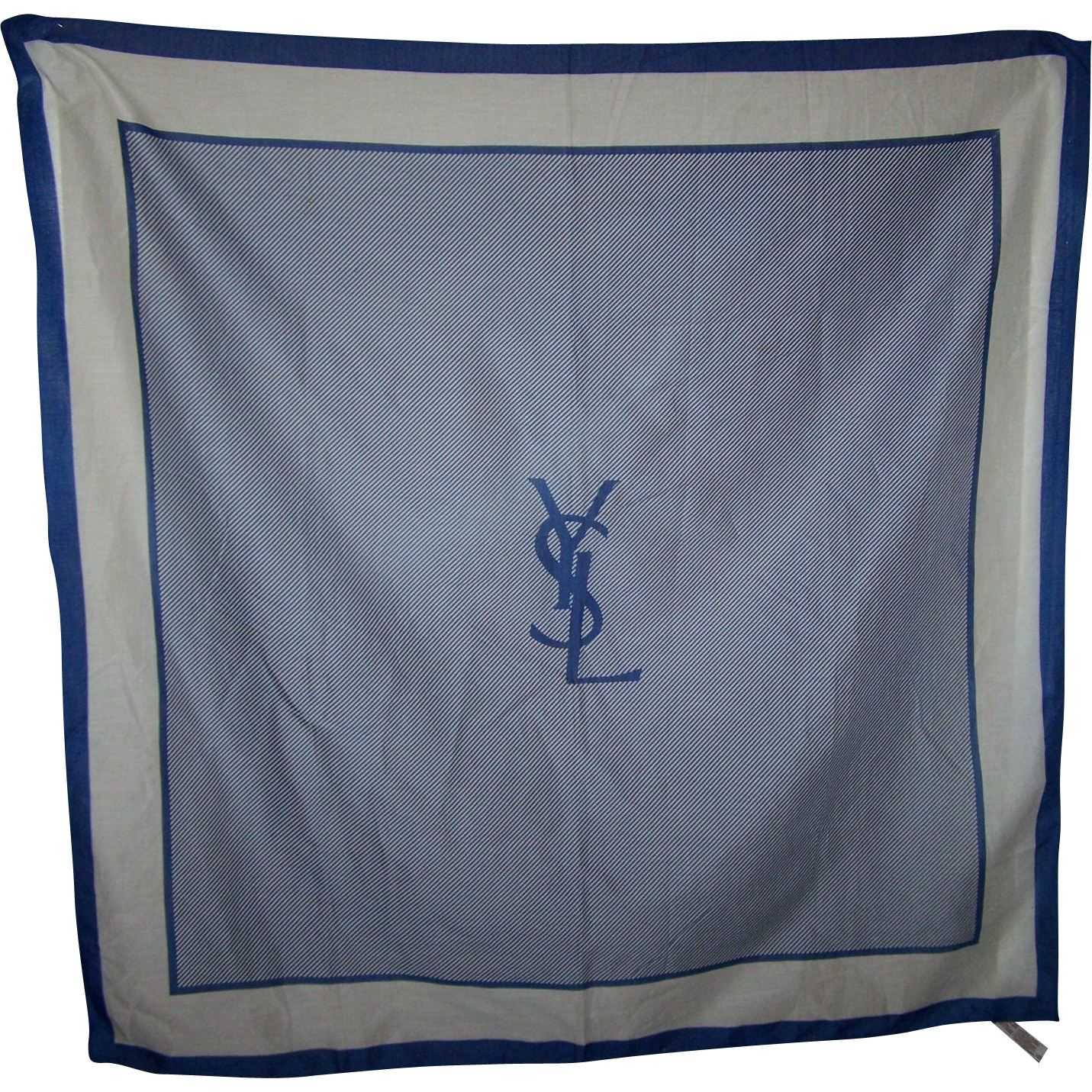 Vintage Designer YSL Yves Saint Laurent 100% Cotton Blue & White  Variation Stripe Art Scarf