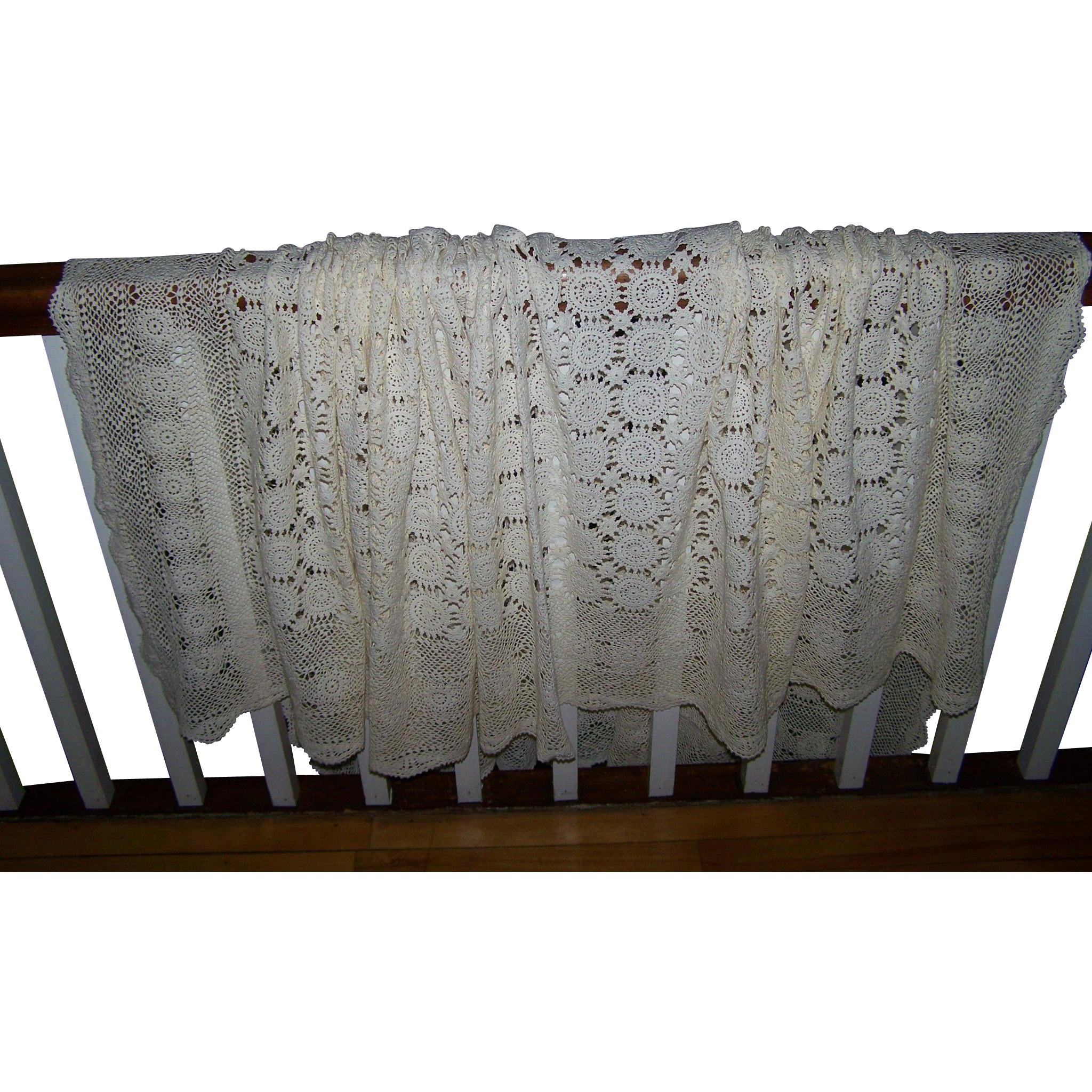 A Beautiful Romantic Vintage Crochet  Ecru Color Table Cloth or Bed Spread Home Decor Accent