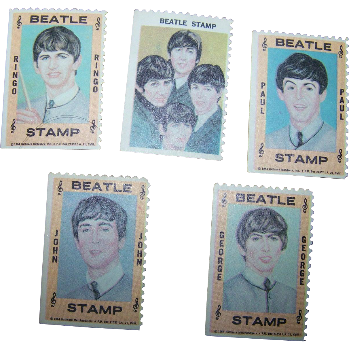 Set of 5 1964 Hallmark Beatles Stamp Set - Music Stamps, Ringo, Paul, John, George