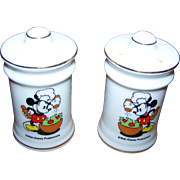 Vintage Walt Disney Productions Chef Mickey Mouse Salt & Pepper Spice Shakers Ceramic