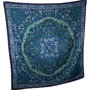 Pretty Floral Paisley Themed Large Navy Blue Ground Ladies Stylish Fashion Scarf