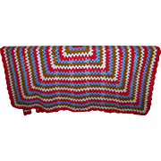 Lovely Vintage Hand Crafted Crochet Blanket Coverlet Throw Op Art Style