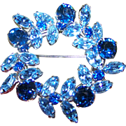 Stunning Designer Signed SHERMAN Blue Rhinestone Wreath Brooch Pin Jewel