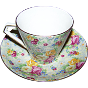 Cheerful All Over Floral Chintz  Teacup Saucer Set BCM / Nelson Ware  Lord Nelson Ware Rose Time