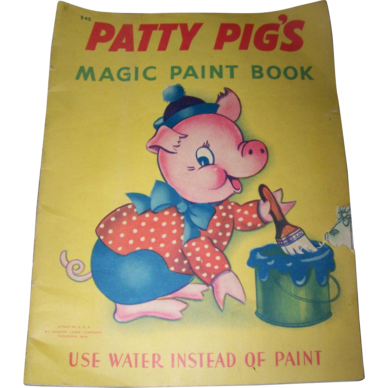 Vintage Soft Cover Booklet Patty Pig's Magic Paint Book Use Water Instead of Paint