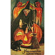 Halloween Greetings  Witch Broom  Devils Black Cat Pumpkin Phostint Postcard