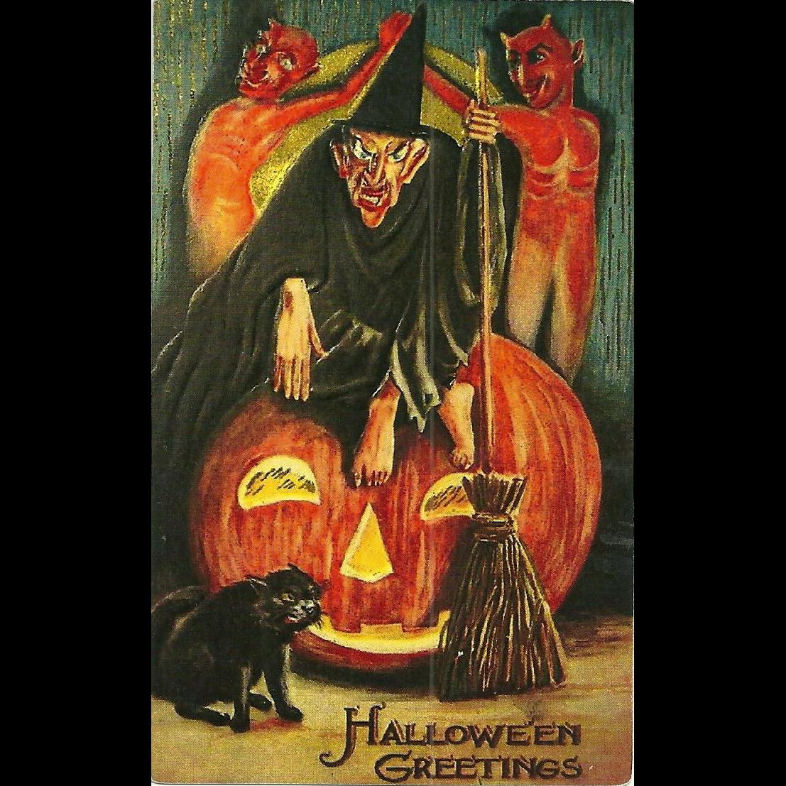Halloween Greetings  Witch Broom  Devils Black Cat Pumpkin Phostint Postcard