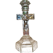Vintage Crucifix Pressed Manganese Glass Candlestick Candle Holder Jesus on the Cross Holy Figure