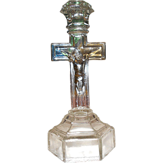 Vintage Crucifix Pressed Glass Candlestick Candle Holder Jesus on the Cross Holy Figure