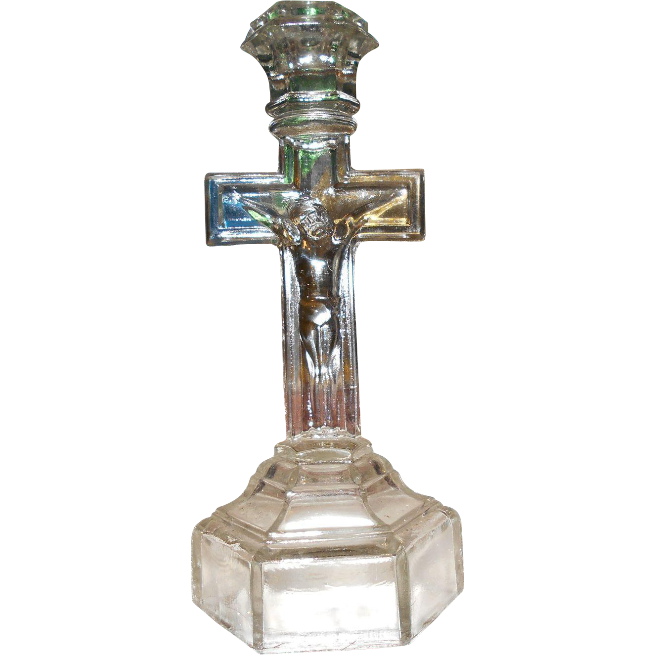 Vintage crucifix pressed manganese glass candlestick for L furniture warehouse victoria bc