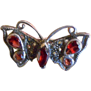 Lovely Small 925 Sterling Silver  Marcasite and Garnet Gemstone Butterfly Pin