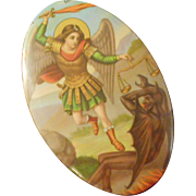 Small Vintage Tin Metal Plaque Celluloid Icon Print Archangel Michael Slaying The Devil