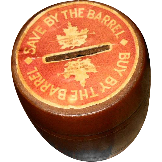 A Vintage Small Novelty  Save By The Barrel  Buy By The Barrel Wood Bank