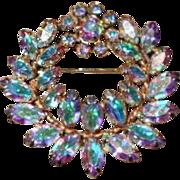 Designer Signed Sherman Coronet  Tiara  Aurora Borealis Rhinestone Brooch Pin Book Piece