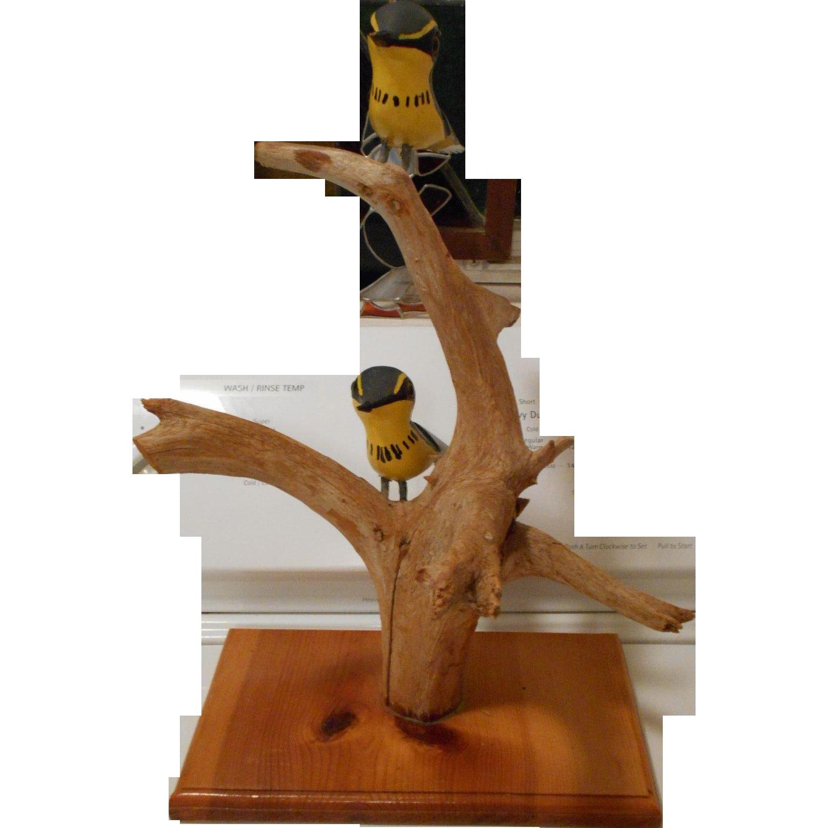 Vintage Folk Art Carved Painted Birds on Braches Tree By John E Foster Brooklyn Nova Scotia CANADA
