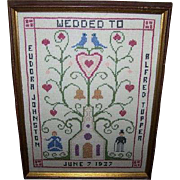 Historical Framed Nova Scotia  CANADA Cross Stitch Wedding Sampler 1937