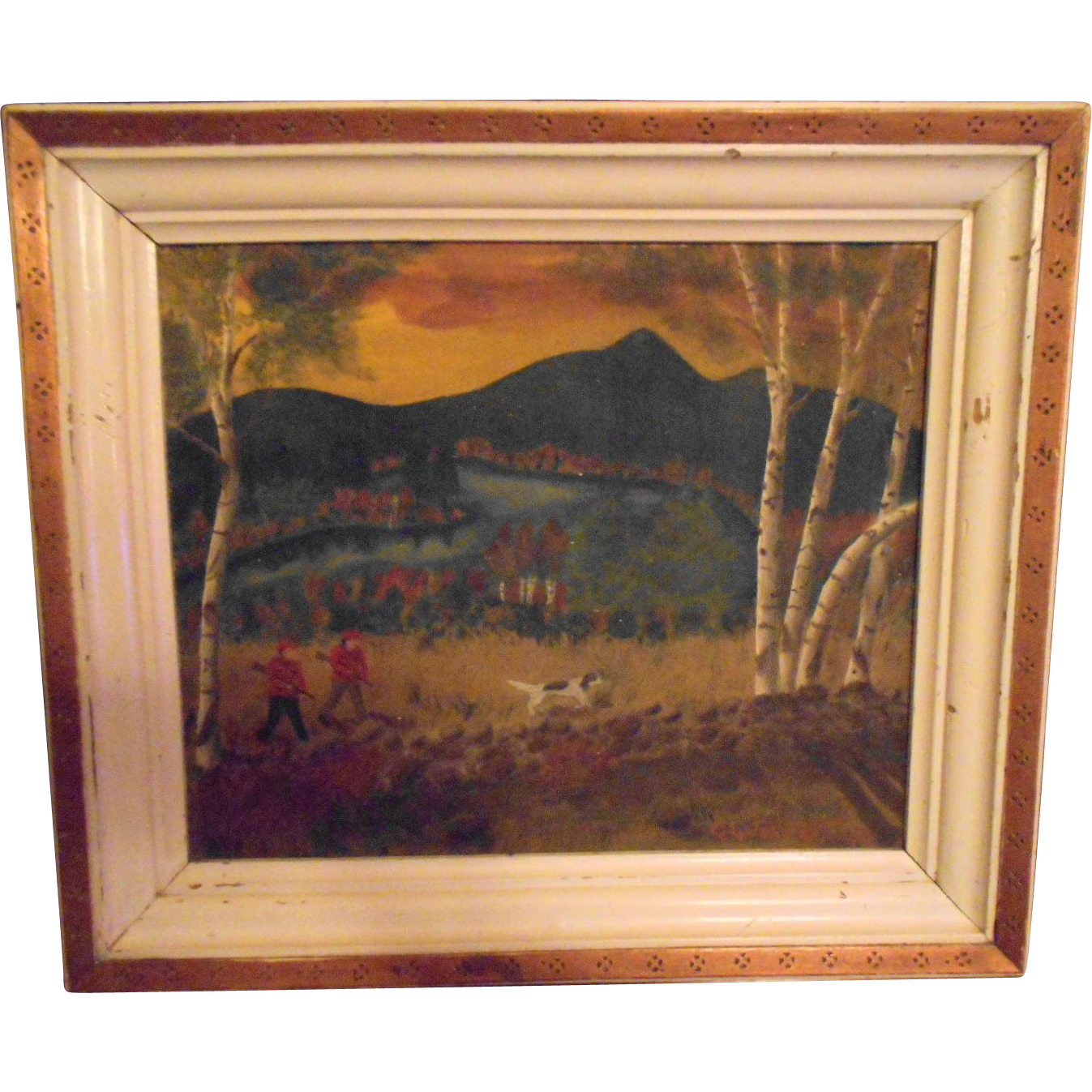 Hand Painted Folk Nova Scotia Canada Art Hunting Scene Artist Signed Dated