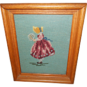 Lovely Hand Stitched  Sunbonnet Needlepoint Sampler Wall Art Home Decor