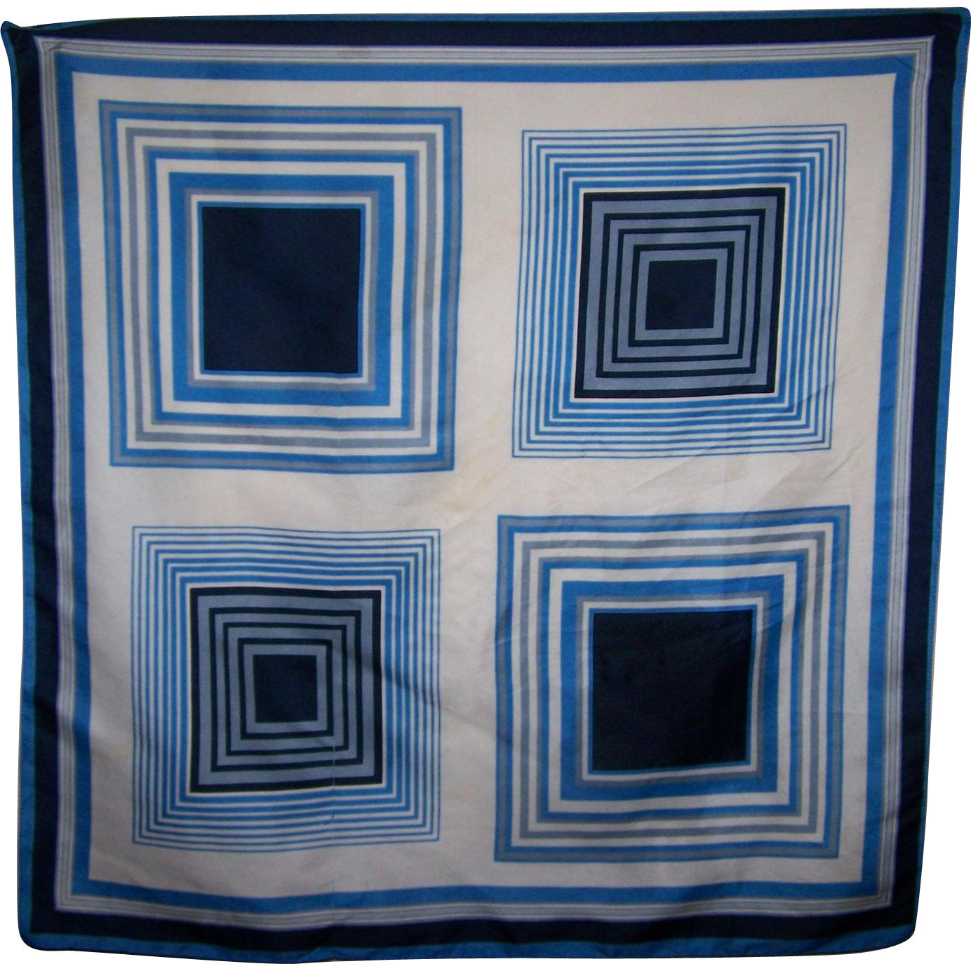A Vintage Geometric Optical Illusion Op Art Fashion Scarf Made in Italy