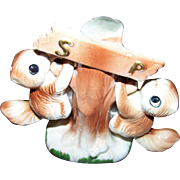 A Charming Set of Ceramic Tree Hanging Squirrel Salt & Pepper Spice Shakers