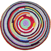 What A Cheerful Colorful Vintage Knit Crochet  Round Throw  Pillow  Home Decor Accent