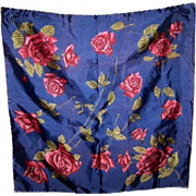 Lovely Silk Rose Floral Pattern Hand Rolled Scarf Wearable ART