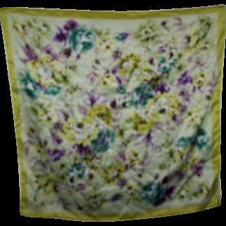 Lovely Large Designer Signed SantaMaria Silk Floral Pattern Ladies Fashion Scarf