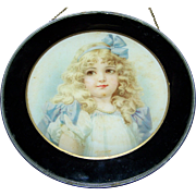 Such A Charming Vintage Flue Cover Glass Metal Featuring A Lovely Little Girl Portrait